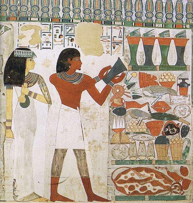 Нахт в схенти, его жена Тауи в каласирисе с накидкой и ожерельем усех сжимает менат. Гробница TT52, XV век до н. э.