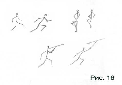 """Первая из них это  """"бегущий человек """", вторая  """"танцующий """" и третья - человек метающий копье.  В каждой паре поза..."""