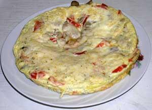 Омлет с грибами, болгарским перцем и сыром